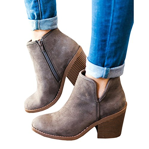 Womens Ankle Booties Chunky Side V Cut Block High Heel Zipper Pointed Toe Boots Gray