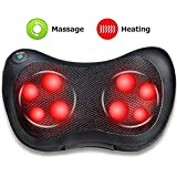 Techtest Car Electronic Massage Pillow Massager Cushion Car Lumbar Neck Back Shoulder Heat Pillow Deep Kneading Massager Relax Pain Back Pillow for Car Home Office Massager