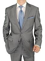Salvatore Exte Men's Suit Two Button Jacket Flat Front Pants Stripe