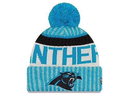 New Era Knit Carolina Panthers Blue On Field Game Sideline Winter Stocking Beanie Pom Hat Cap 2015 …
