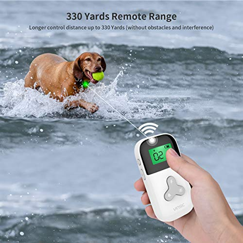 VINSIC Dog Shock Collars with Remote for 2 Dogs, 100% Waterproof Dog Training Collars with 300yd Range Remote Control, for Small Big Dog bark Collar with LCD Display by VINSIC (Image #4)