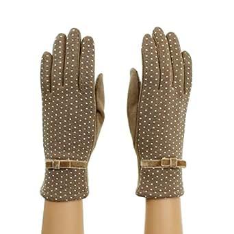 S/M Camel Polka Dot Driving Gloves for Touchscreen