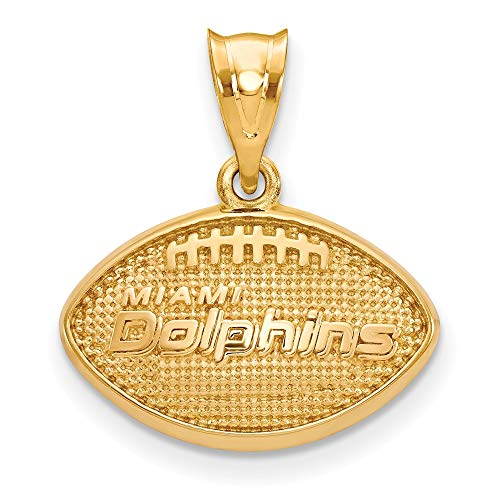 - NFL Sterling Silver Gold-plated LogoArt Miami Dolphins Football Pendant