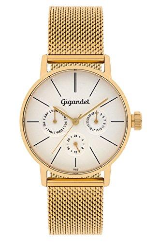 Gigandet Women's Quartz Watch Minimalism Multifunction Analog Mesh Bracelet Gold Silver G38-007