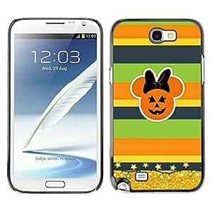 Caucho caso de Shell duro de la cubierta de accesorios de protección BY RAYDREAMMM - Samsung Galaxy Note 2 N7100 - Gold Glitter Fall Pumpkin