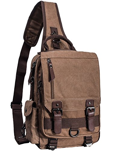 (Mygreen Sling Canvas Cross Body 13-inch Laptop Messenger Bag Shoulder Backpack)