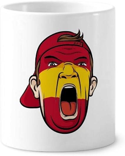 Mascarilla de maquillaje facial con la bandera de España, apilable, cerámica para cepillos de dientes, taza blanca de 350 ml, regalo: Amazon.es: Oficina y papelería