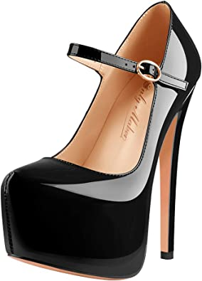 Women Ankle Buckle High Heels Stiletto Platform Pumps Patent Leather Party Shoe#