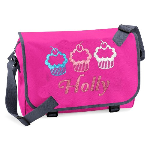 Edward Sinclair Big Girls' Personalised Named Cupcake Design Messenger Bag 41 X 31 X 12 Cm Capacity: 11 Litres Fuchsia