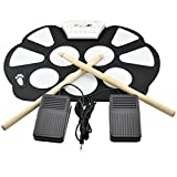 iKKEGOL Portable Mini Electronic USB Roll Up Drum Pad kit Silicon Foldable with Drum Sticks Foot Switch Pedal Christmas Gift New year Present