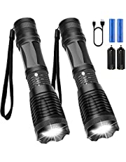 UOON LED Torch Powerful Flashlight Torches Led Torch Light Powerful Ultra Bright LED Taclight Water Resistant Flash Light with Adjustable Focus and 5 Light Modes for Camping Hiking Emergency