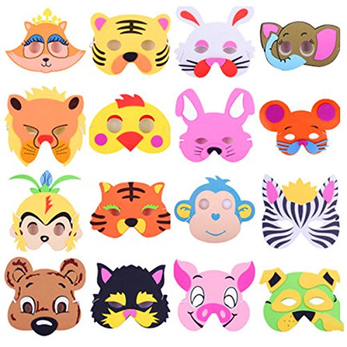 12 Pack Assorted Foam Animal Masks for Birthday Party Favors Dress-up -