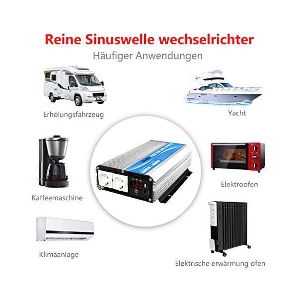 51 52WDaliL 2000W Spannungswandler 12V auf 230V/240V Reiner Sinus Wechselrichter Konverter mit AC-Steckdosen mit Fernbedienung für…