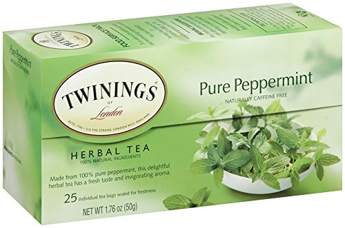 Twinings Herbal Tea, Pure Peppermint, 25 Count Bagged Tea (6 Pack)