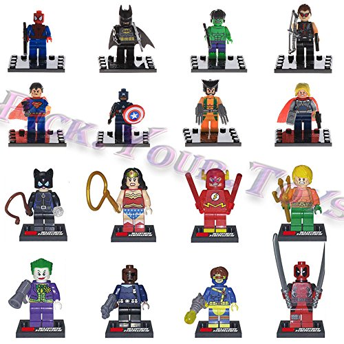 gg HOT 16 PCS Avengers Deadpool comics marvel Minifigures Building Blocks Toys (Kids Harley Quinn Mallet)