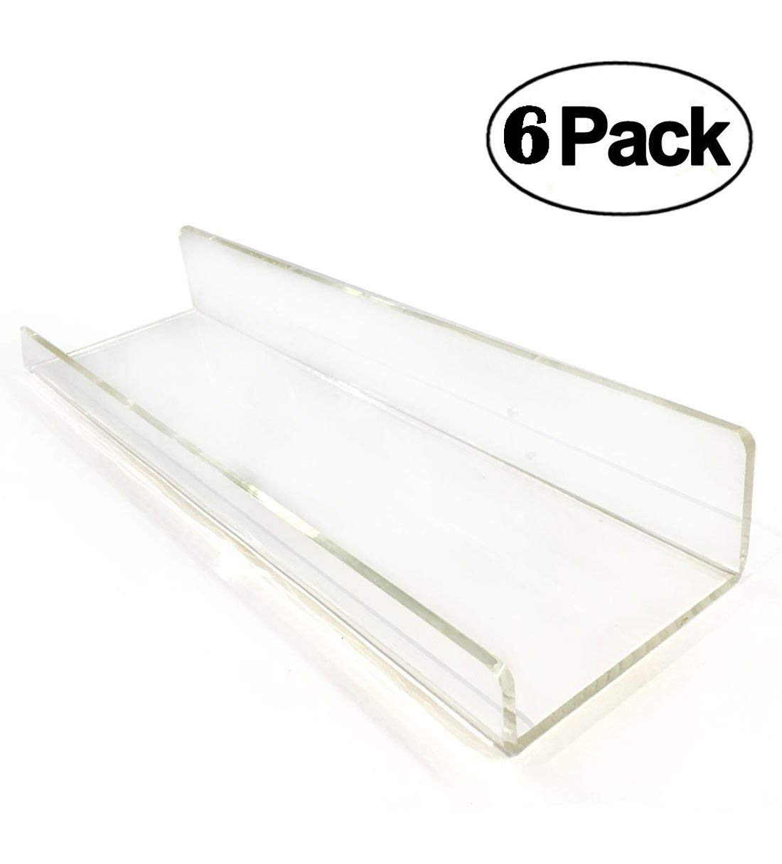 2 Clear Contemporary Floating Shelves - Acrylic Bathroom Shelf Set, Nail Polish Organizer Cosmetics Makeup or Spice Rack, Storage Shelves Non Wooden Wall Decor Hanging Bookshelf Display BlingSoul JBS-2ACRLC15X2
