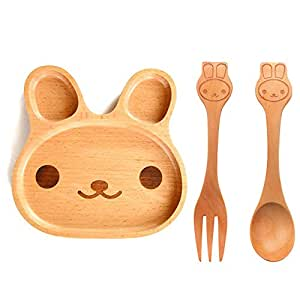Daisy Happy Natural Bamboo Baby Feeding Set 3pcs Includes Plate, Spoon and Fork,BPA Free Infant and Kid Friendly - 7.8''