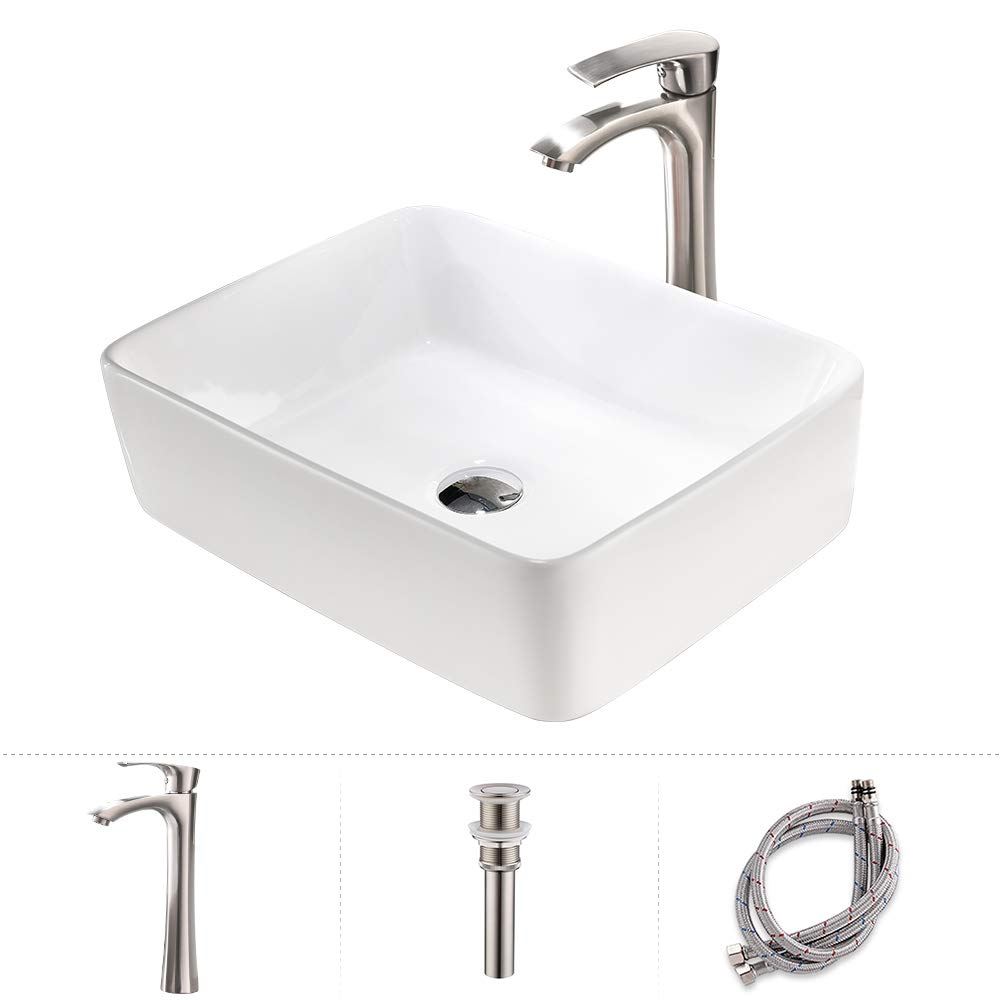 TRIUN 19 x15 Rectangular Above Counter White Porcelain Ceramic Bathroom Vessel Sink and Brushed Nickel Single Lever Faucet Matching Pop Up Drain Combo