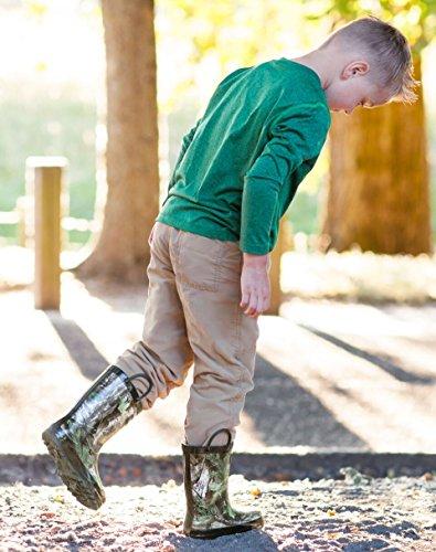 Oakiwear Bambini Impermeabili Stivali Da Pioggia In Gomma Con Manici Easy-on Xtra Green Camo