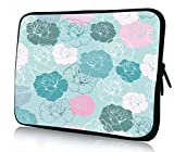 artistic drawing tablet - 10 inch Rikki Knight Turquoise Pink Flowers Seamless Design Design Laptop sleeve - Ideal for iPad 2,3,4, iPad Air, Galaxy Note, Small Notebooks and other Tablets
