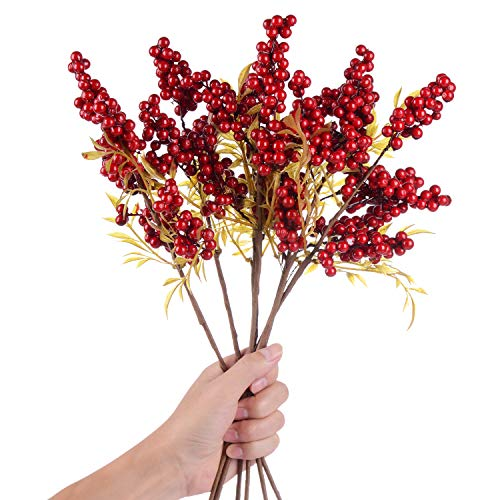 TINGOR 4 Pack Artificial Red Berry Stems for Christmas Tree Decorations, Crafts, Holiday and Home Decor, 18 Inches Burgundy Berry Floral