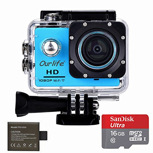 Ourlife 1080P WIFI Sports Action Camera Ultra HD Waterproof DV Camcorder 12MP 170 Degree Wide Angle 2 Inch LCD Screen Portable Package Include Full Accessories Kits Ourlife