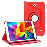 360 Degree Rotating Case Cover w/ Stand for Samsung Galaxy Tab 4 8.0 (Red)