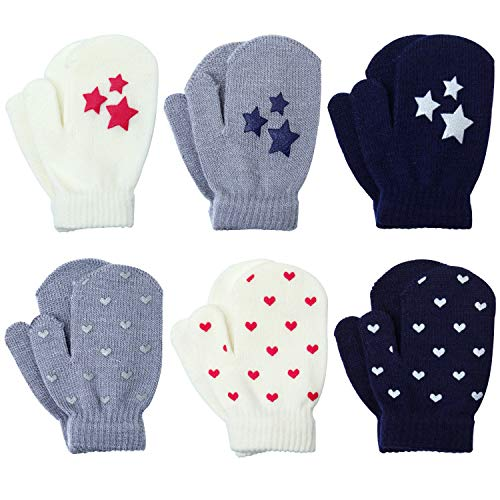 Coobey 6 Pairs Toddler Magic Stretch Mittens Winter Unisex Baby Knitted Gloves Mittens (Mixed Color B, 2-4 ()