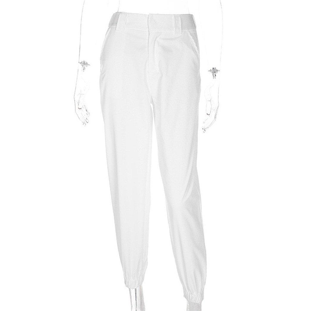 ac7c4246128aae Vovotrade Damen Freizeithose Jogginghose Hose Damen Beiläufig Harem  Ausgebeult Hüfte Hop Tanzen Joggen Schweiß Hose Slacks Trousers (White, ...