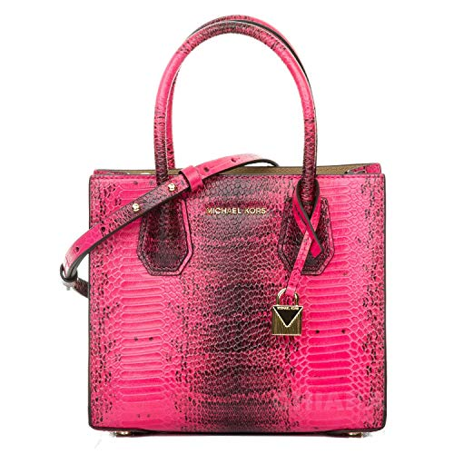 Michael Kors Mercer Embossed Leather Crossbody ULTRA PINK - Michael Kors Boutique