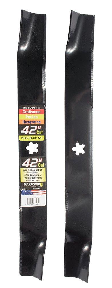 Maxpower 561714 2-Blade Mulching Set for 42 Inch Cut Poulan/Husqvarna/Craftsman Replaces 134149, 532134149