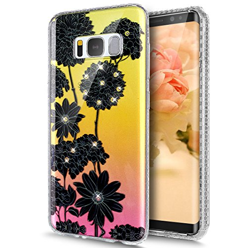 Price comparison product image Galaxy S8 Plus Case,Galaxy S8 Plus Cover,ikasus Crystal Shiny Sparkly Bling Diamond Art Painted Soft Flexible TPU Rubber Silicone Skin Cover Clear Case for Galaxy S8 Plus,Black Daisy chrysanthemum