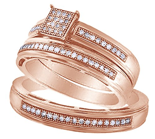 White Natural Diamond Engagement and Wedding Trio Bridal Ring Set in 10K Solid Rose Gold Over Sterling Silver (0.25 (0.25 Ct Diamond Trio)