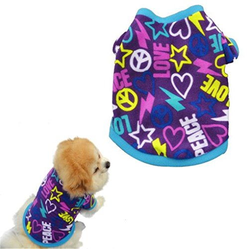 - haoricu Puppy Clothes, Spring Winter Pet Coat Pet Dog Clothes Cat Puppy Pet Puppy Vest T Shirt Small Pet Clothes Dog Hoodie Custome Apparel Warm Sweatshirt (S, Purple)