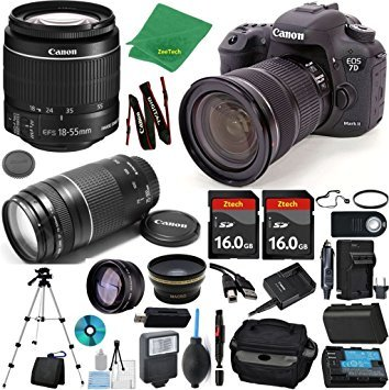 Canon EOS 7D Mark II Camera + 18-55mm IS STM + 75-300mm III + 2pcs 16GB Memory + Case + Reader + Tripod + Starter Set + Wide Angle + Tele + Flash + Battery + Charger – International Version For Sale