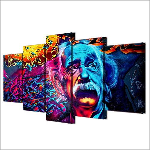 [Medium] Premium Quality Canvas Printed Wall Art Poster 5 Pieces / 5 Pannel Wall Decor Psychedelic Einstein Painting, Home Decor Pictures - With Wooden Frame