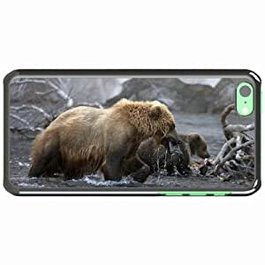 iPhone 5C Black Hardshell Case bears water walk river Desin Images Protector Back Cover