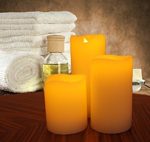 Kerzen mit Fernbedienung 3er Pack - Fantastische Kerzen ohne Flamme mit Fernbedienung + Timer Funktion , Hillfield (1 Set)