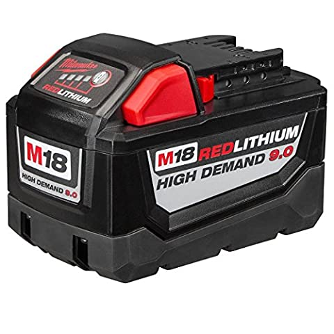 Milwaukee Electric 48-11-1890 M18 18VDC Red Lithium-Ion High Demand 9.0 Ah Battery Pack (Milwaukee Tools 2780)