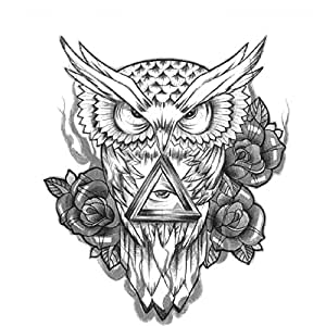Unique fashion removable owl tattoo sticker for Fake tattoos amazon