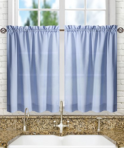 (Ellis Curtain Stacey Sheer 56-by-45 Tailored Tier Pair Curtains, Slate)
