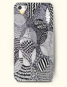 SevenArc Phone Skin Apple iPhone case for iPhone 5 5s ( 5C EXCLUDED ) -- Black and White Zentangle by icecream design