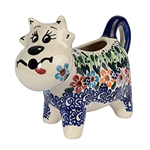 Traditional Polish Pottery, Handcrafted Ceramic Cow-Shaped Cream or Milk Jug 125ml, Boleslawiec Style Pattern, J.401.Daisy