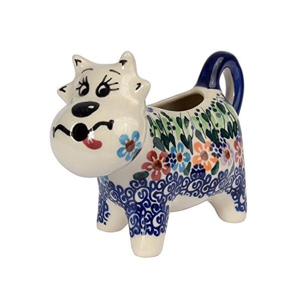 Traditional Polish Pottery, Handcrafted Ceramic Cow-Shaped Cream or Milk Jug 125ml, Boleslawiec Style Pattern, J.401.Daisy