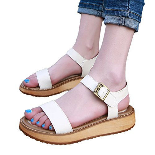 Flop Sandale Flip Femme Orteil métal souple Boucle Cuir Sandales Smilun en Lanières Blanc Thongs 8vFaCnB