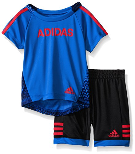adidas Baby Boys' Tee and Active Short Set, Bright Blue, 24 Months (Adidas 3 Stripes Mesh Short)