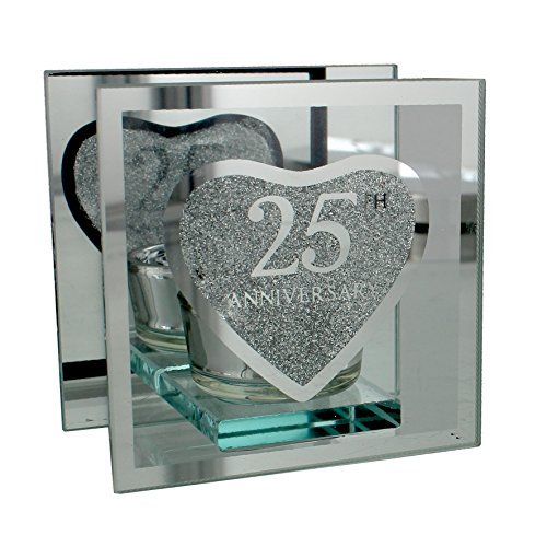 25th Silver Wedding Anniversary Tea Light Holder Gift by ukgiftstoreonline