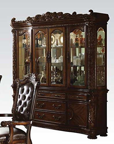 ACME 60006 Vendome Hutch and Buffet China Cabinet, Cherry Finish by ACME