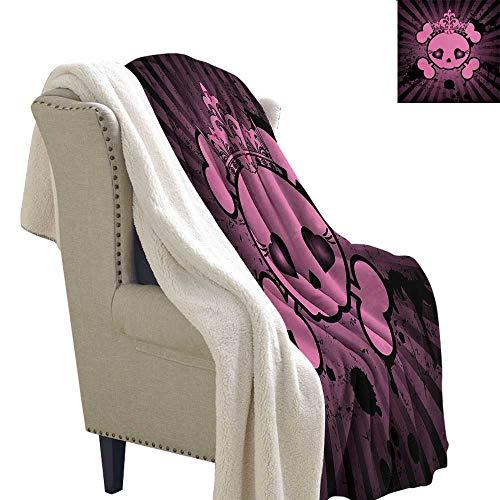 Gabriesl Skull Flannel Bed Blankets 60x78 Inch Cute Skull Illustration with Crown Dark Grunge Style Teen Spooky Halloween Print Blanket as Bedspread Pink Black
