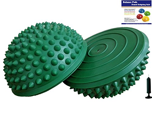AppleRound Pair Balance Pods with 1 Pump, Domed Hedgehog Style, Green